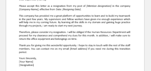 Resignation letter with clearance request