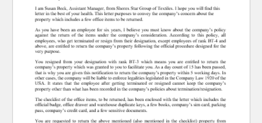 Return of Company's Property Letter to Employee