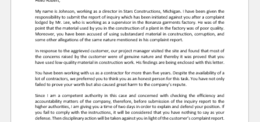 Show Cause Letter on Customer Complaint Report