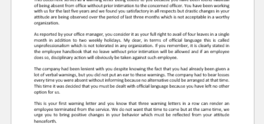 Warning Letter for Absent without Information