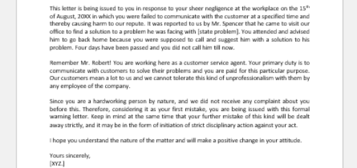 Warning Letter for Failure to Communicate with Customer