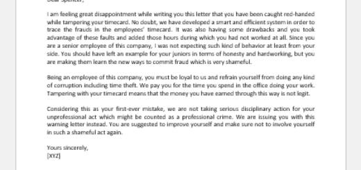 Warning Letter for Tampering Timecard