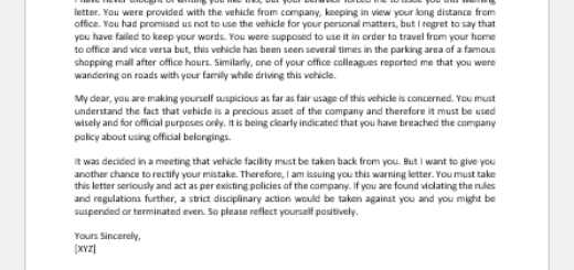 Warning Letter for Unauthorized use of Company Vehicle