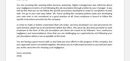 Warning Letter for not Following Job Description