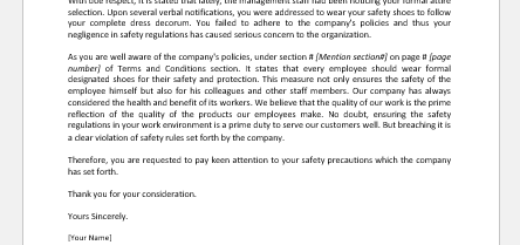 Warning Letter for not Wearing Safety Shoes