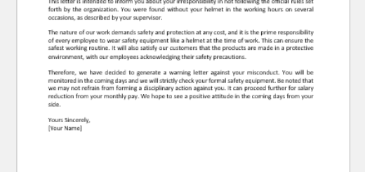Warning Letter to Employee for Not Wearing Helmet