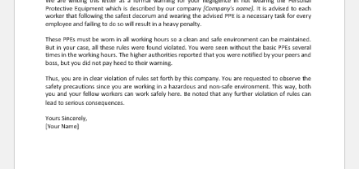 Warning Letter to Employee for Not Wearing PPE