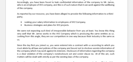 Warning Letter to Employees for Leaking Salary Details