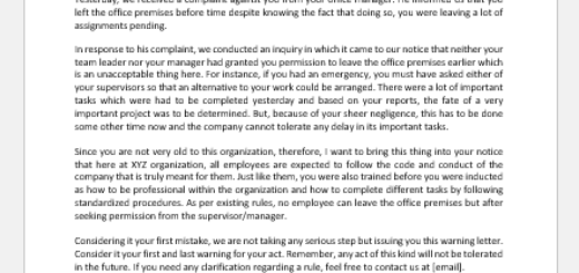 Warning letter for leaving work premises without permission