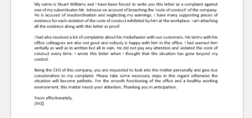 Code of Conduct Complaint Letter