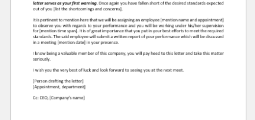 HR Department's Letter to Employee about Poor Performance