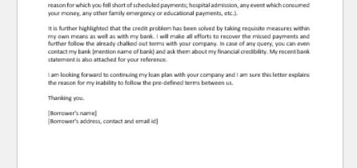 Letter Explaining Bad Credit to Lender