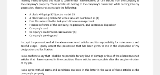 Letter Undertaking the Company's Property by Employee