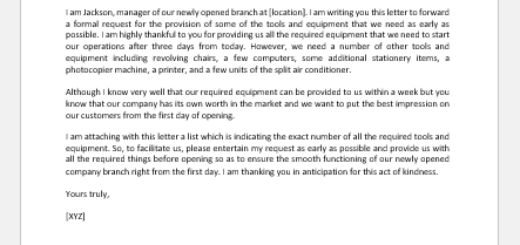 Letter of Request for Tools and Equipment