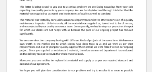 Letter to Notify Supplier of Quality Issue