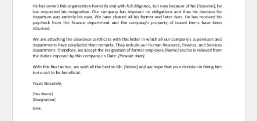 Office Clearance Letter or Certificate