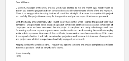 Project Completion Certificate Request Letter