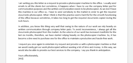 Request Letter for Photocopier Machine