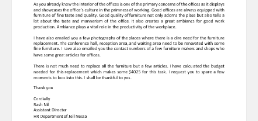 Request Letter for Replacement of Office Furniture