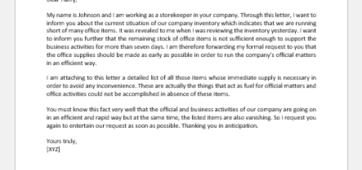 Request Letter to Manager for Office Supplies