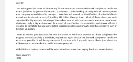 Work Completion Certificate Request Letter