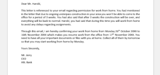 Work from Home Confirmation Email