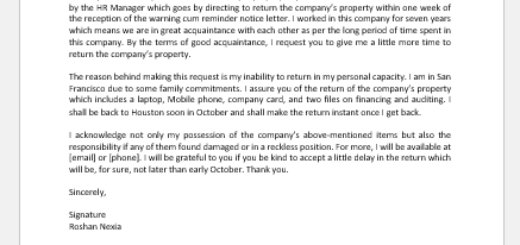 Acknowledgment Letter for Return of Company's Property