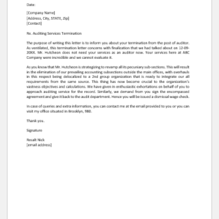 Audit Services Termination Letter Template