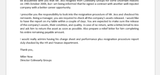 Company Asset Release Letter to Manager
