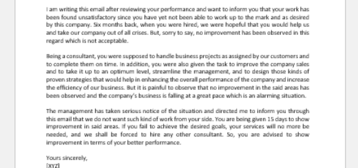 Email on Unsatisfactory Work from Consultant