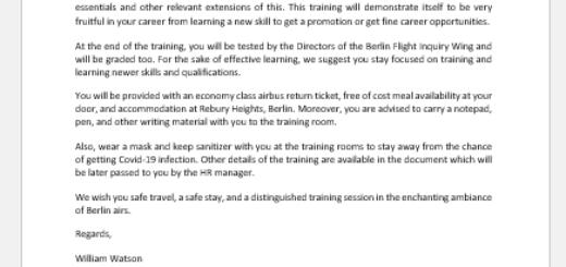 Email to Employee Notifying of Upcoming Training