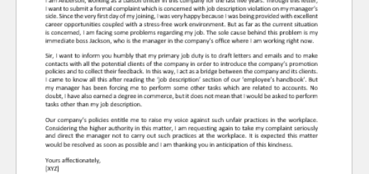 Employee Complaint of Job Description Violation to Boss