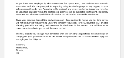 Grievance Letter for Verbal Abuse of Boss