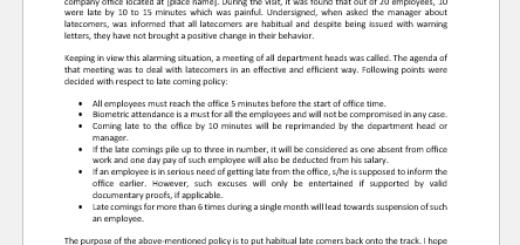 Late Coming Policy Letter to Employees