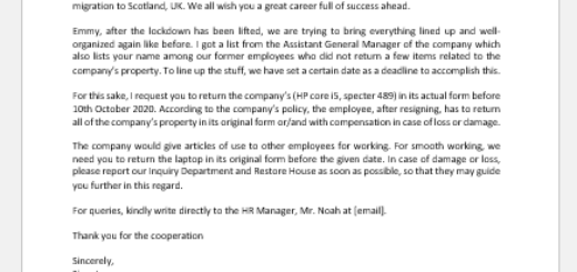 Letter to Employee to Return the Company Laptop