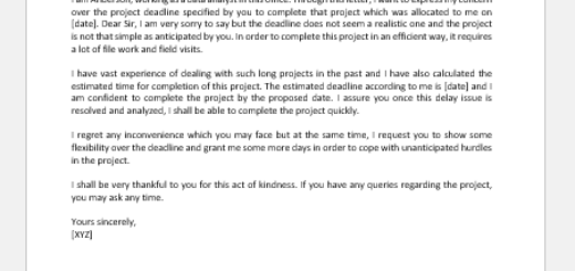 Letter to Manager Expressing Concern Over Project Deadline