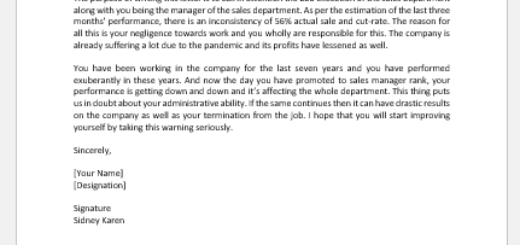 Poor Performance Letter for Sales Executive