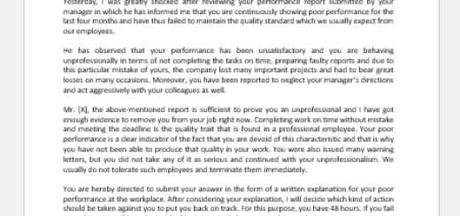 Show Cause Letter for Poor Work Performance
