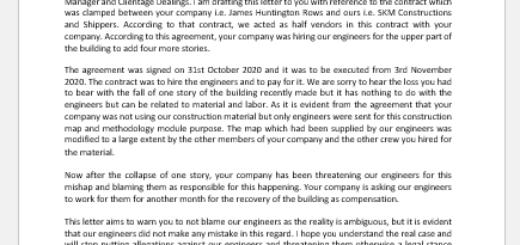 Warning Letter for Allegations on Engineer