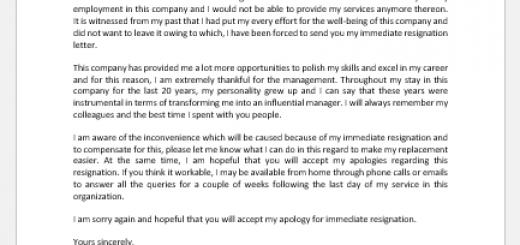 Apology Letter for Immediate Resignation