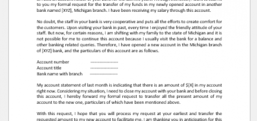 Request to Transfer Funds before Closing Account
