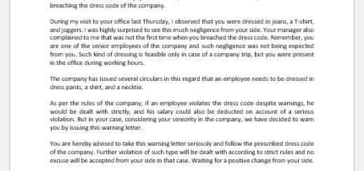 Warning Letter for Not Respecting the Dress Code