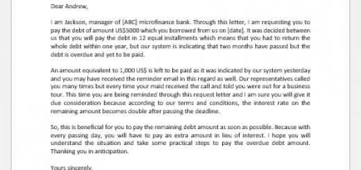 Letter Requesting Payment of Debt