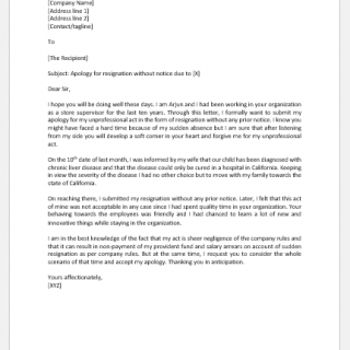 Apology Letter for Resignation without Notice