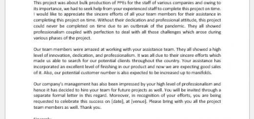 Appreciation Letter for Project Completion