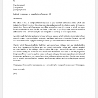 Contract Cancellation Response Letter