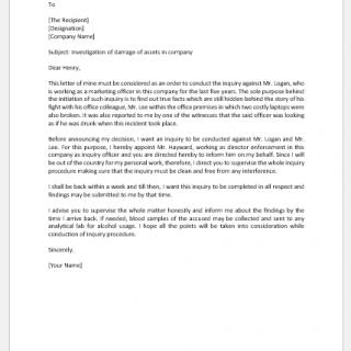 Investigation Order Letter for Damage of Asset