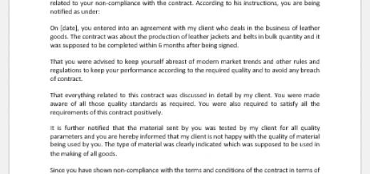 Legal Notice for Non-compliance to Contractor