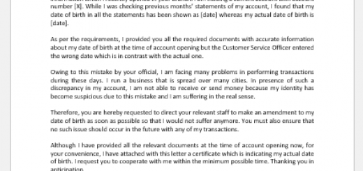 Letter of Correction of DOB to Bank Manager
