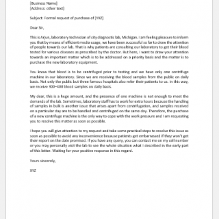 Request Letter for Purchase of Lab Equipment